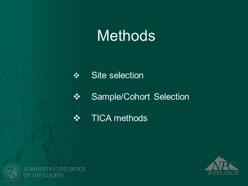 Methods Site selection Sample/Cohort Selection TICA methods