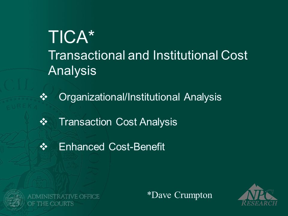 TICA* Transactional and Institutional Cost Analysis