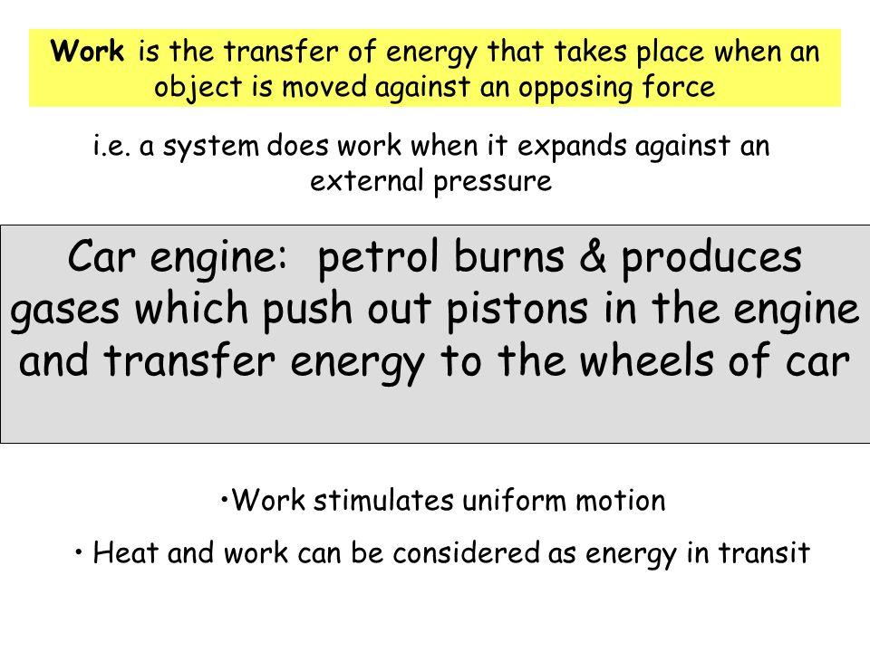 Work is the transfer of energy that takes place when an object is moved against an opposing force