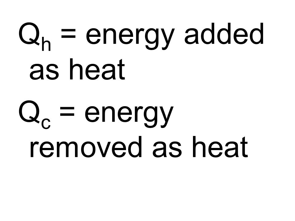 Qh = energy added as heat