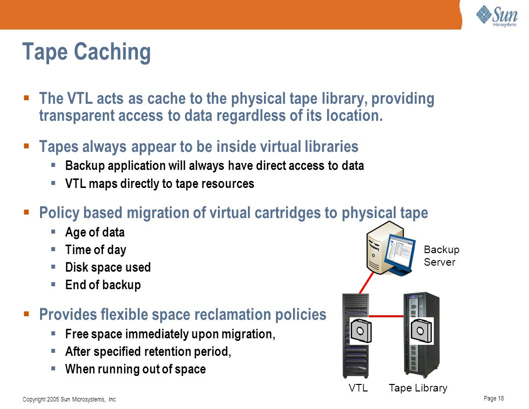 Tape Caching The VTL acts as cache to the physical tape library, providing transparent access to data regardless of its location.
