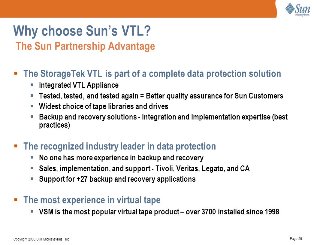 Why choose Sun's VTL The Sun Partnership Advantage
