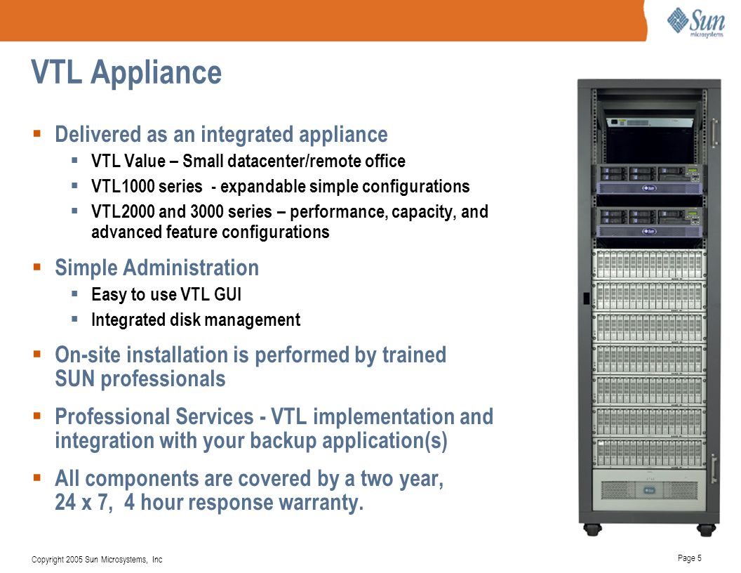 VTL Appliance Delivered as an integrated appliance