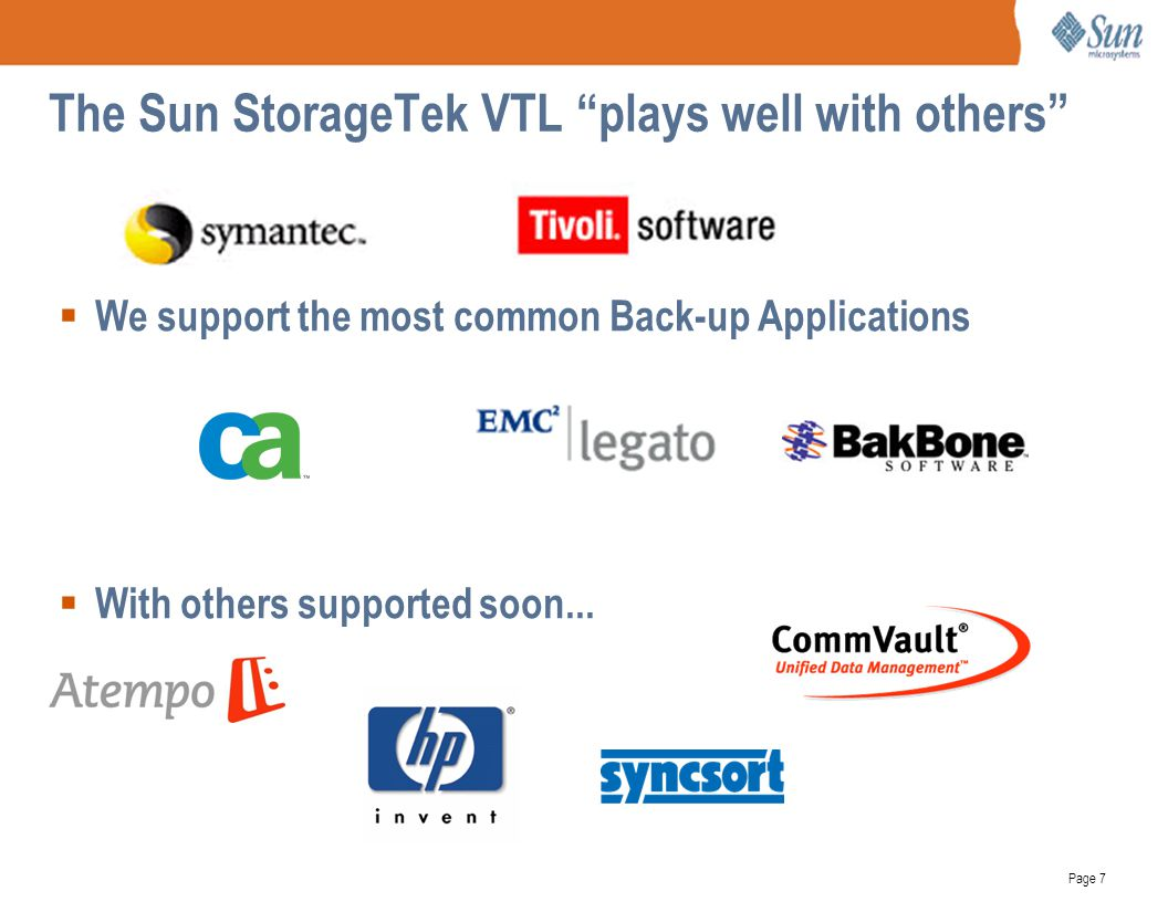 The Sun StorageTek VTL plays well with others