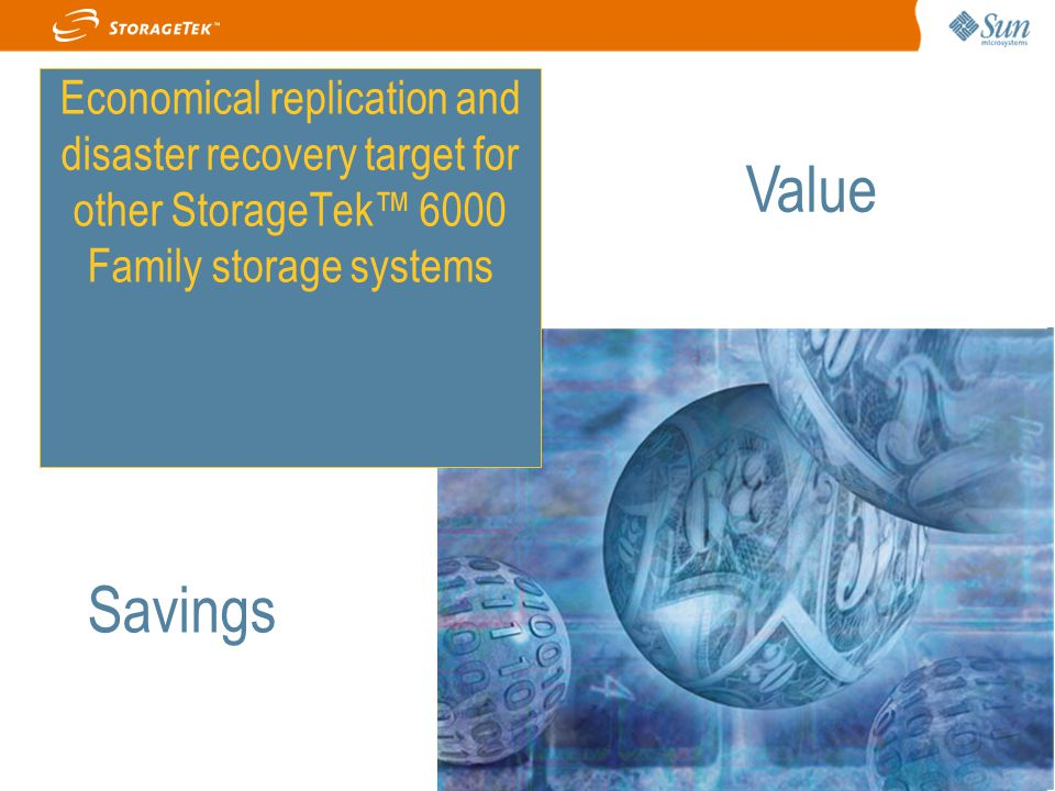 Economical replication and disaster recovery target for other StorageTek™ 6000 Family storage systems