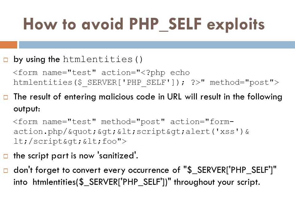 How to avoid PHP_SELF exploits