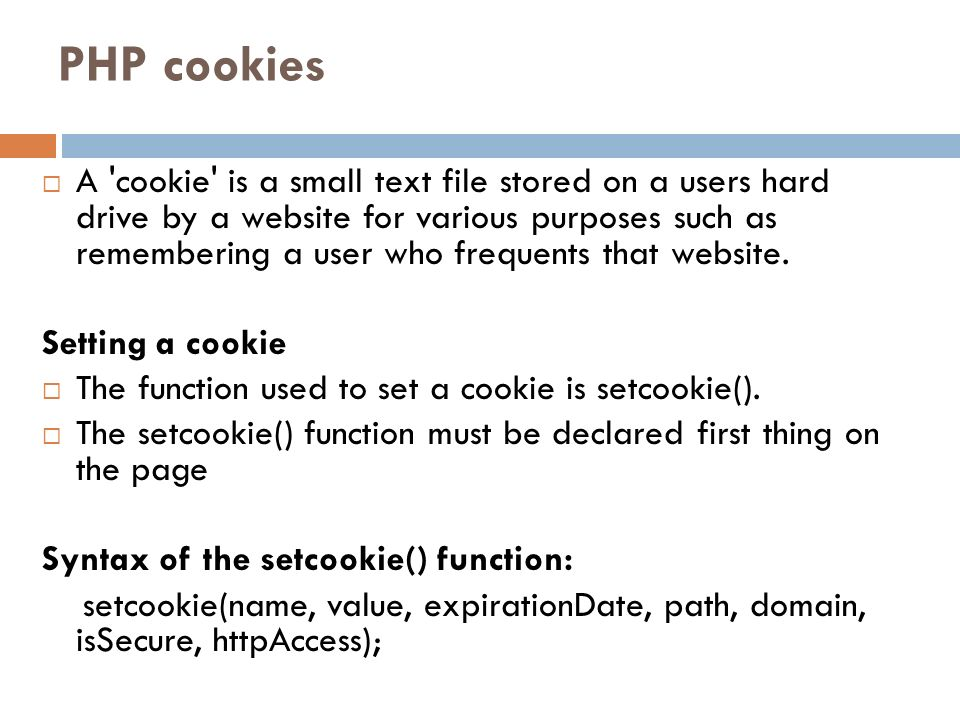 PHP cookies