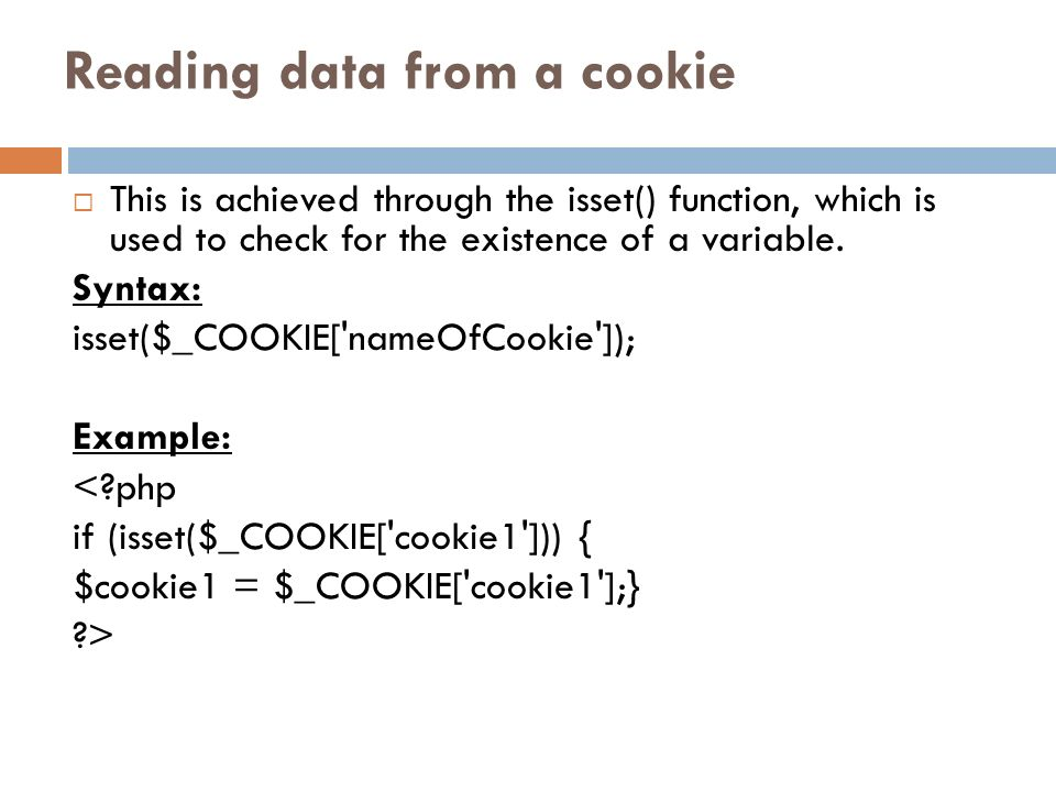 Reading data from a cookie