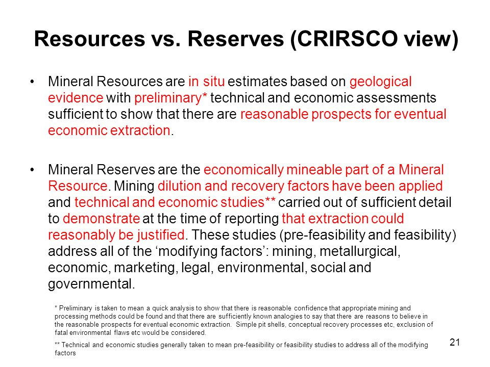 Resources vs. Reserves (CRIRSCO view)