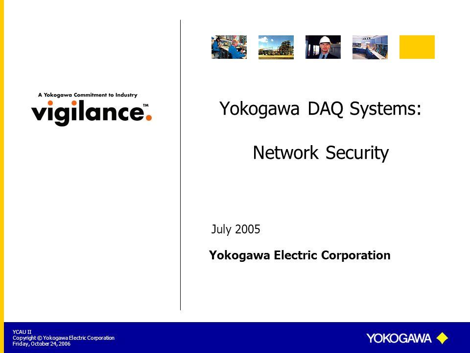 Yokogawa DAQ Systems: Network Security