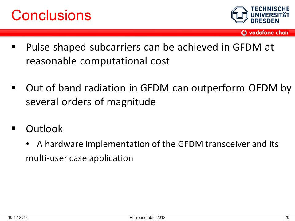 Conclusions 06.04.2017. Pulse shaped subcarriers can be achieved in GFDM at reasonable computational cost.