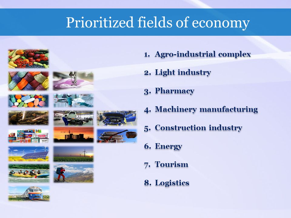 Prioritized fields of economy