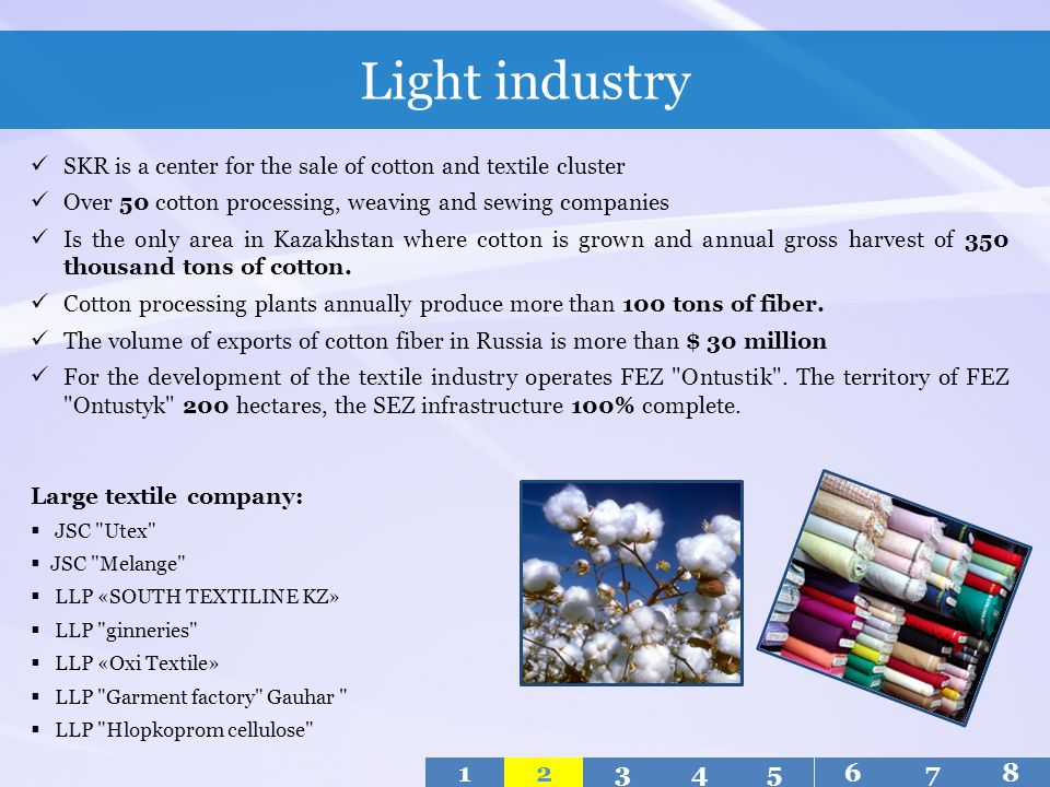 Light industry SKR is a center for the sale of cotton and textile cluster. Over 50 cotton processing, weaving and sewing companies.