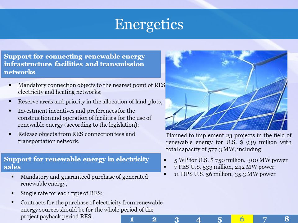 Energetics Support for connecting renewable energy infrastructure facilities and transmission networks.