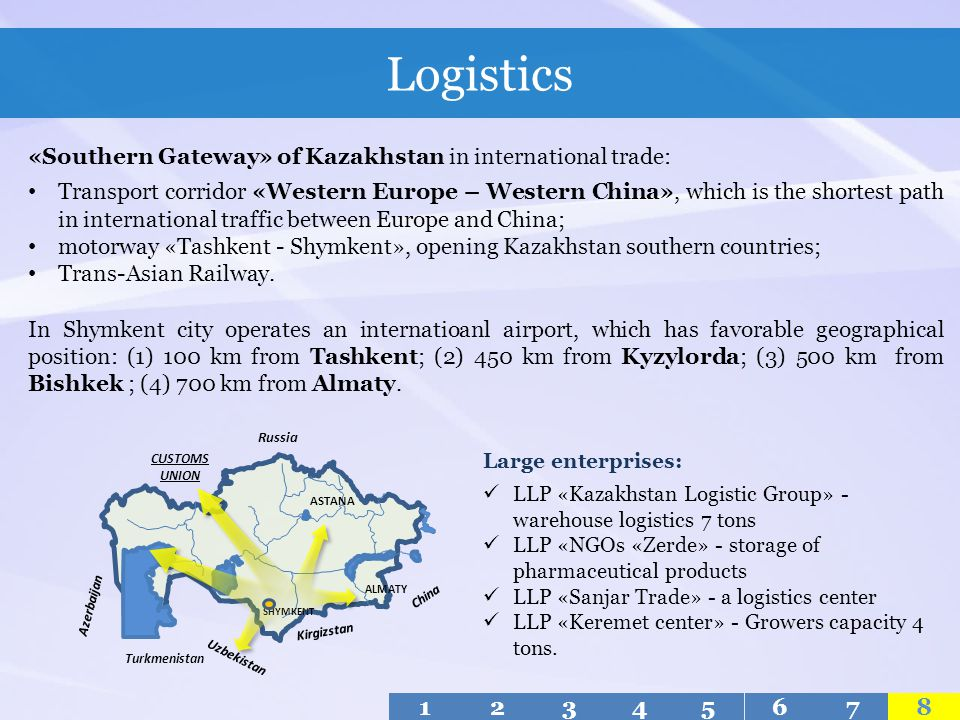 Logistics «Southern Gateway» of Kazakhstan in international trade: