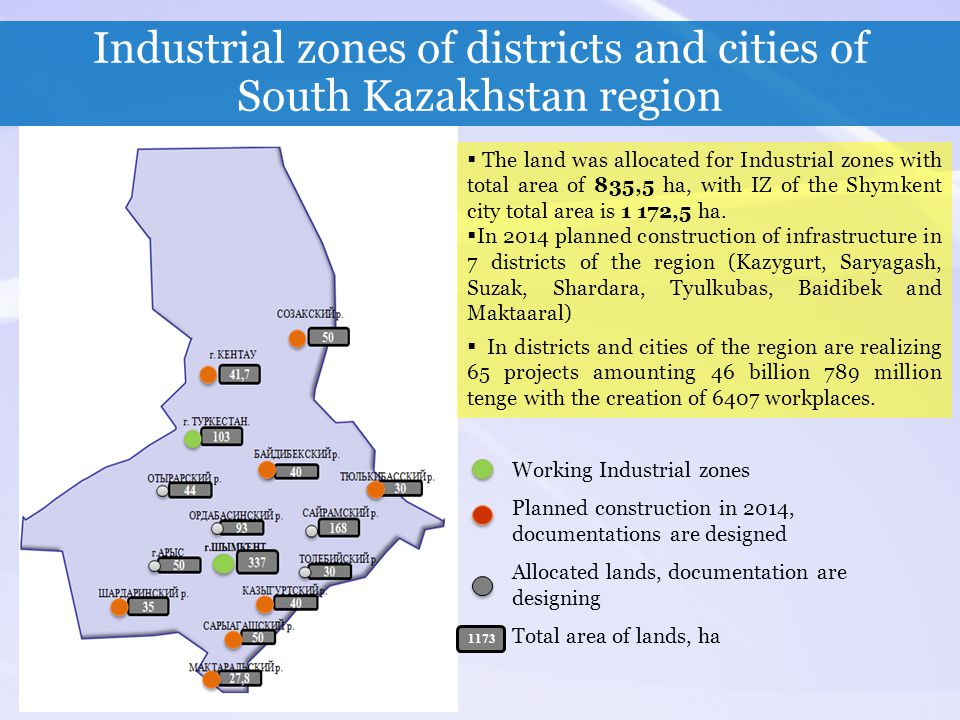 Industrial zones of districts and cities of South Kazakhstan region