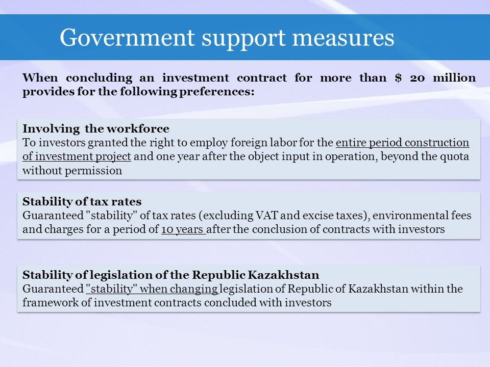 Government support measures