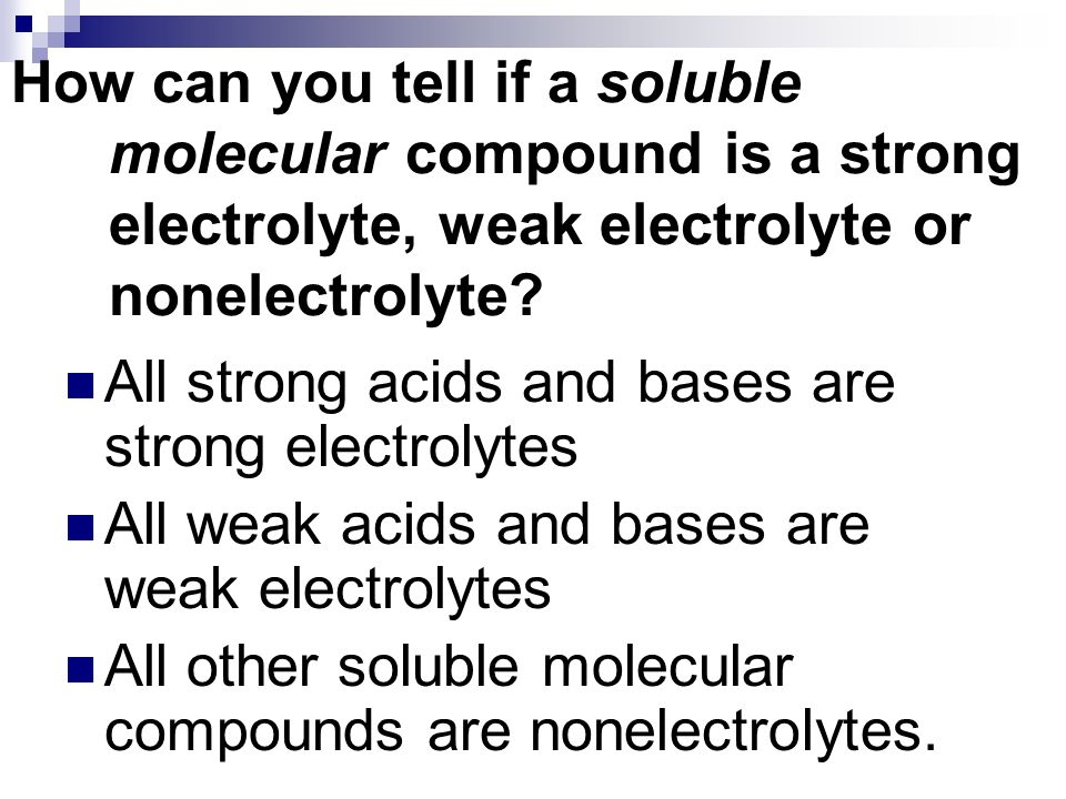 How can you tell if a soluble molecular compound is a strong electrolyte, weak electrolyte or nonelectrolyte