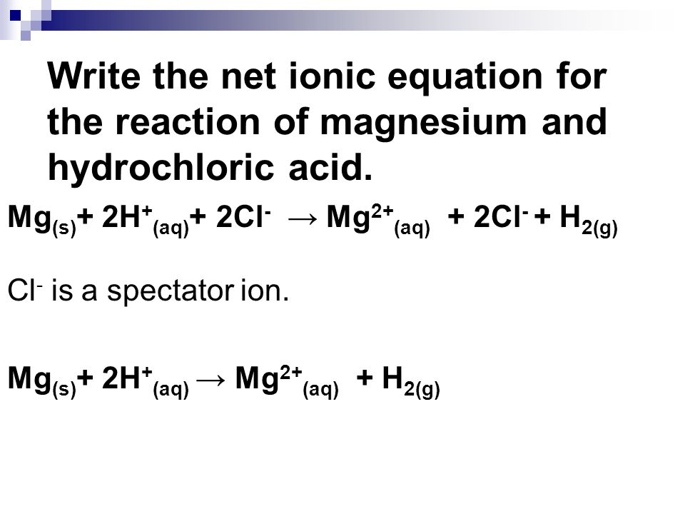 Write the net ionic equation for the reaction of magnesium and hydrochloric acid.