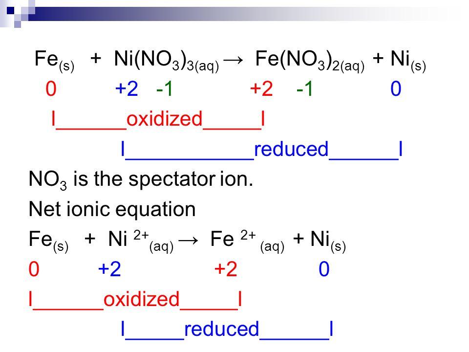 Fe(s) + Ni(NO3)3(aq) → Fe(NO3)2(aq) + Ni(s)