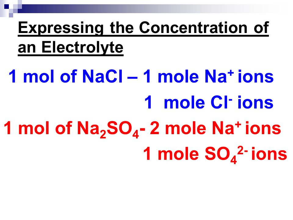 Expressing the Concentration of an Electrolyte