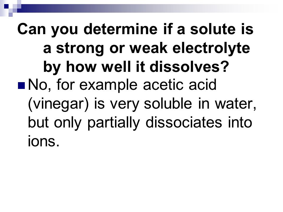 Can you determine if a solute is a strong or weak electrolyte by how well it dissolves