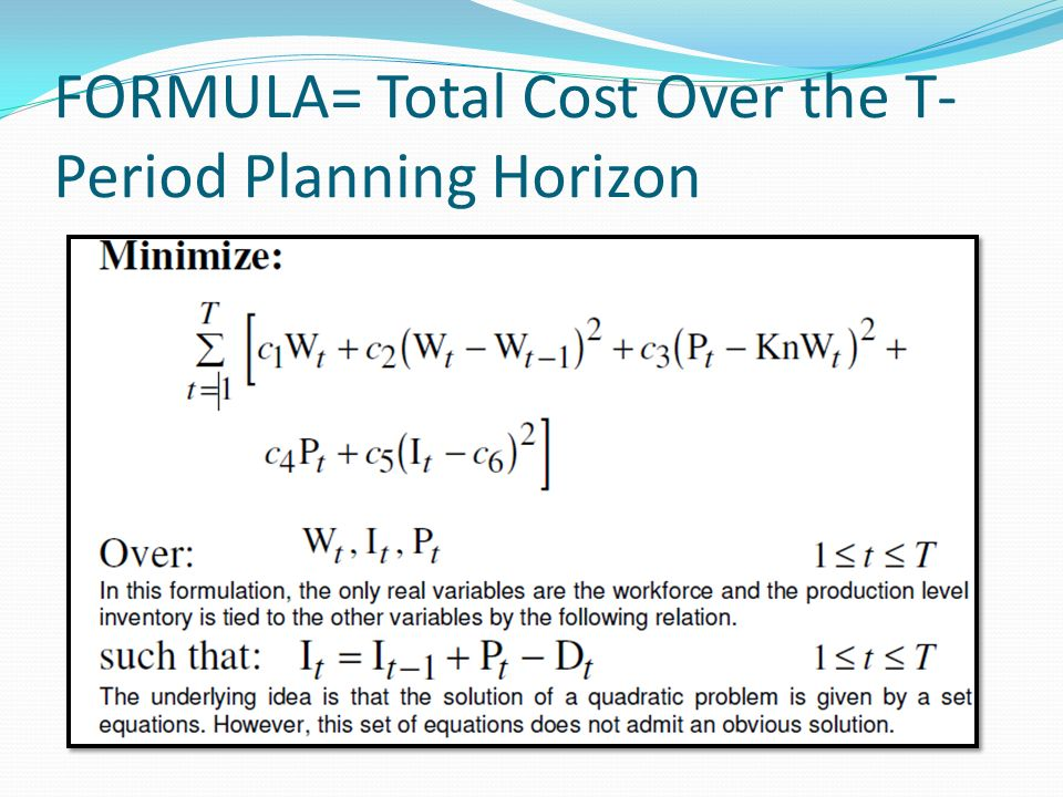 FORMULA= Total Cost Over the T-Period Planning Horizon