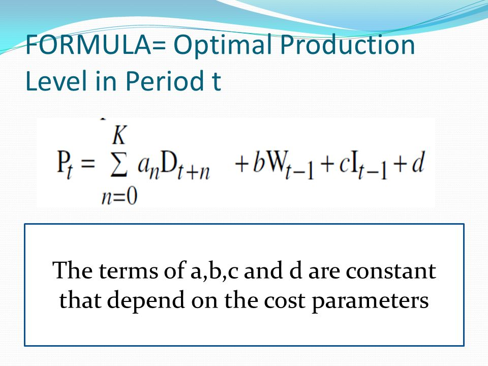 FORMULA= Optimal Production Level in Period t