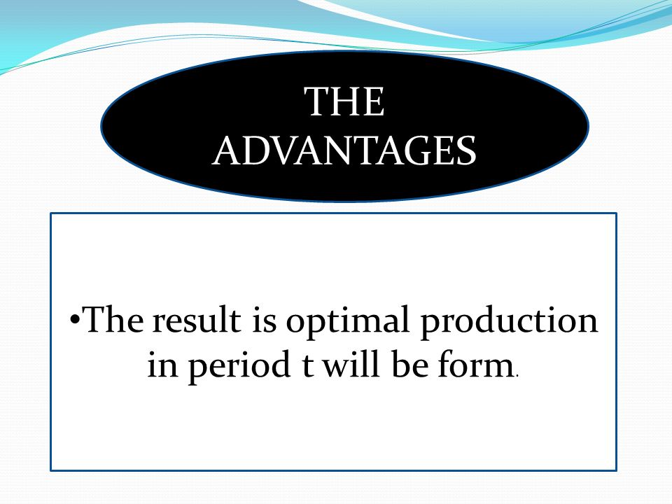 The result is optimal production in period t will be form.