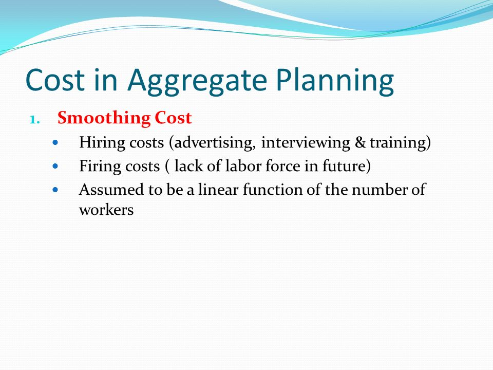 Cost in Aggregate Planning