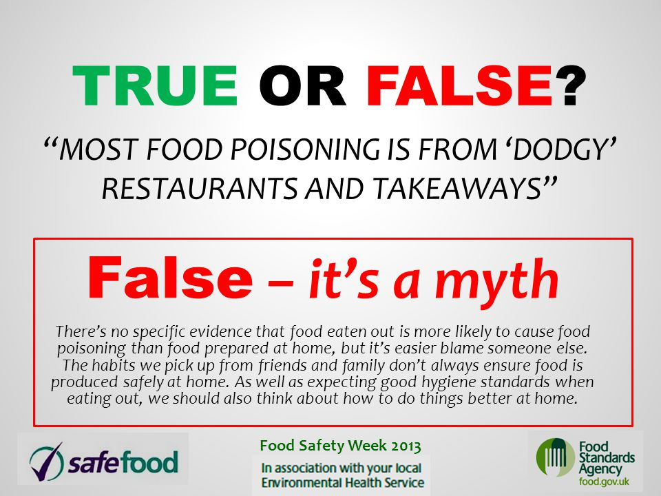 True or False Most food poisoning is from 'dodgy' restaurants and takeaways