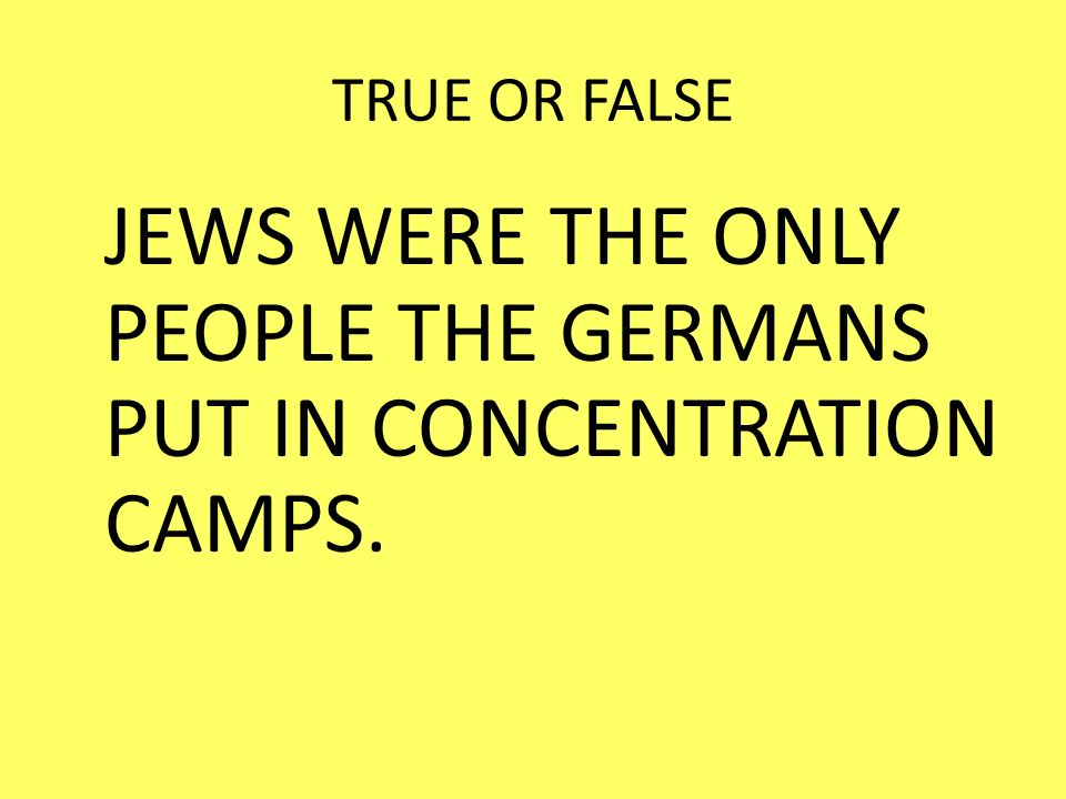 JEWS WERE THE ONLY PEOPLE THE GERMANS PUT IN CONCENTRATION CAMPS.