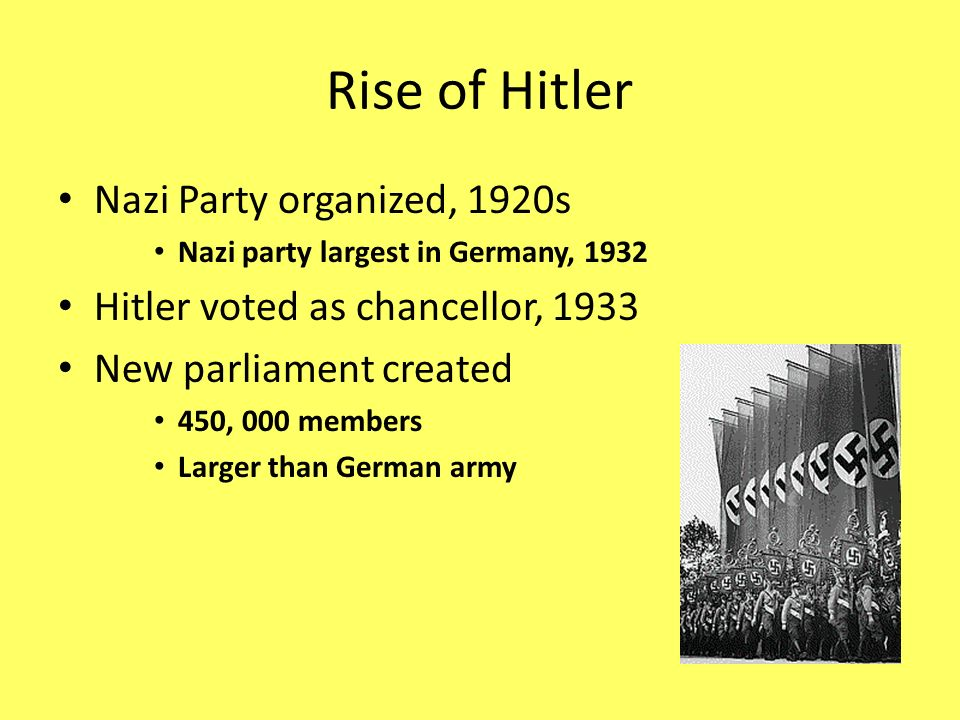 Rise of Hitler Nazi Party organized, 1920s