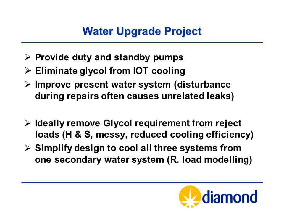 Water Upgrade Project Provide duty and standby pumps