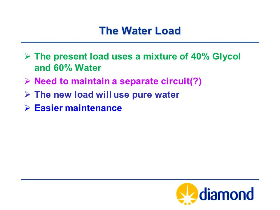 The Water Load The present load uses a mixture of 40% Glycol and 60% Water. Need to maintain a separate circuit( )