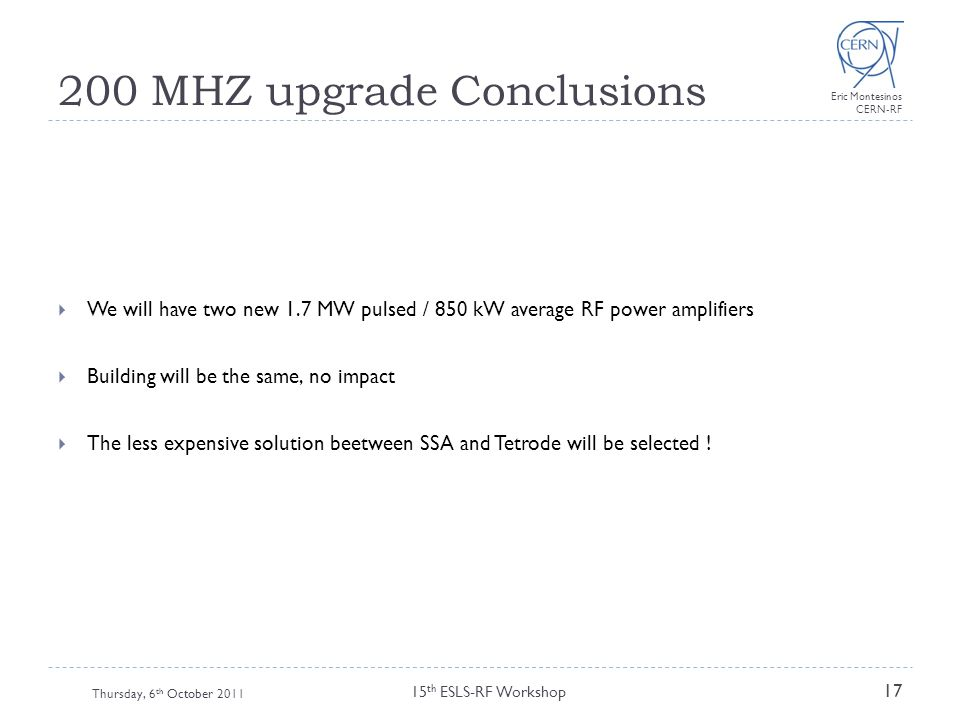 200 MHZ upgrade Conclusions