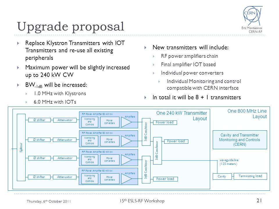 Upgrade proposal Replace Klystron Transmitters with IOT Transmitters and re-use all existing peripherals.