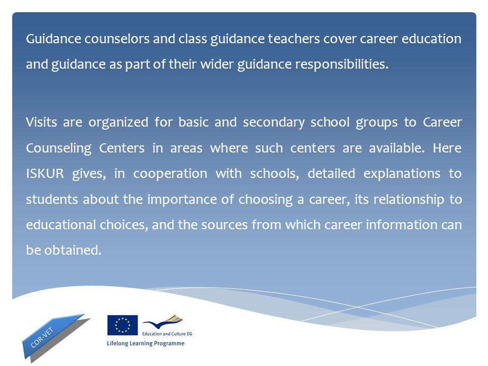 Guidance counselors and class guidance teachers cover career education and guidance as part of their wider guidance responsibilities.
