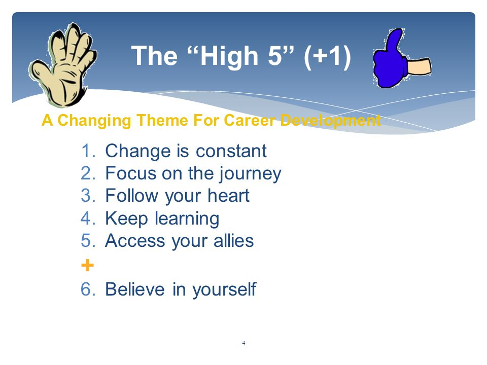 The High 5 (+1) + Change is constant Focus on the journey