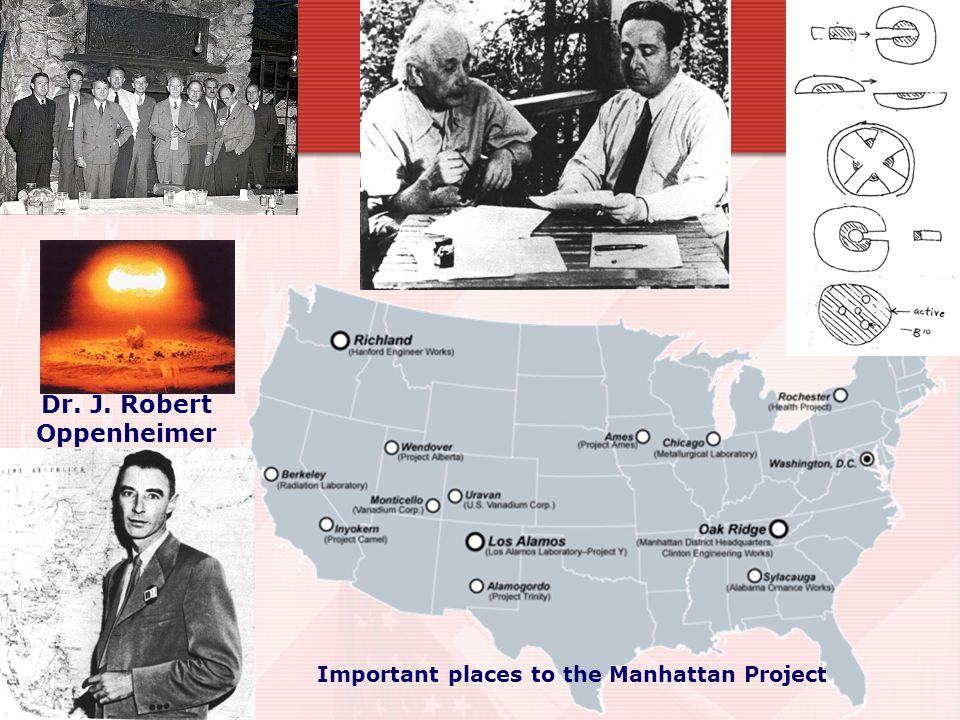 Dr. J. Robert Oppenheimer Important places to the Manhattan Project