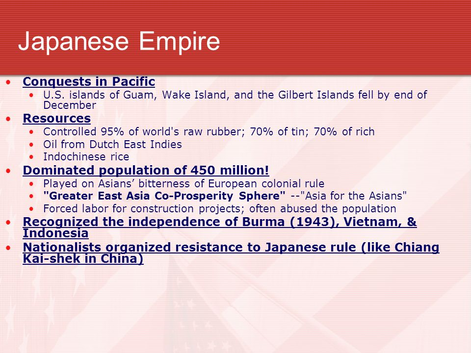 Japanese Empire Conquests in Pacific Resources