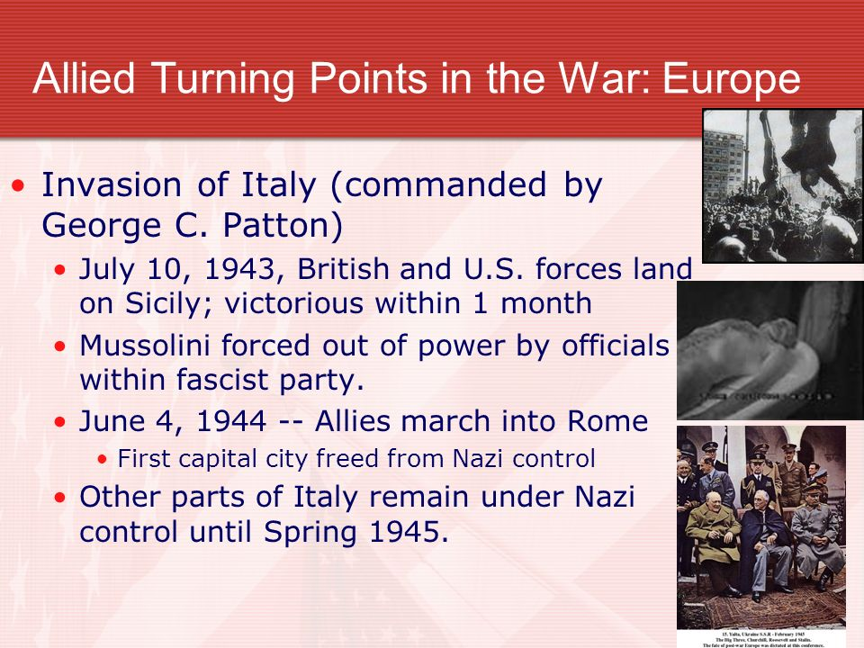 Allied Turning Points in the War: Europe