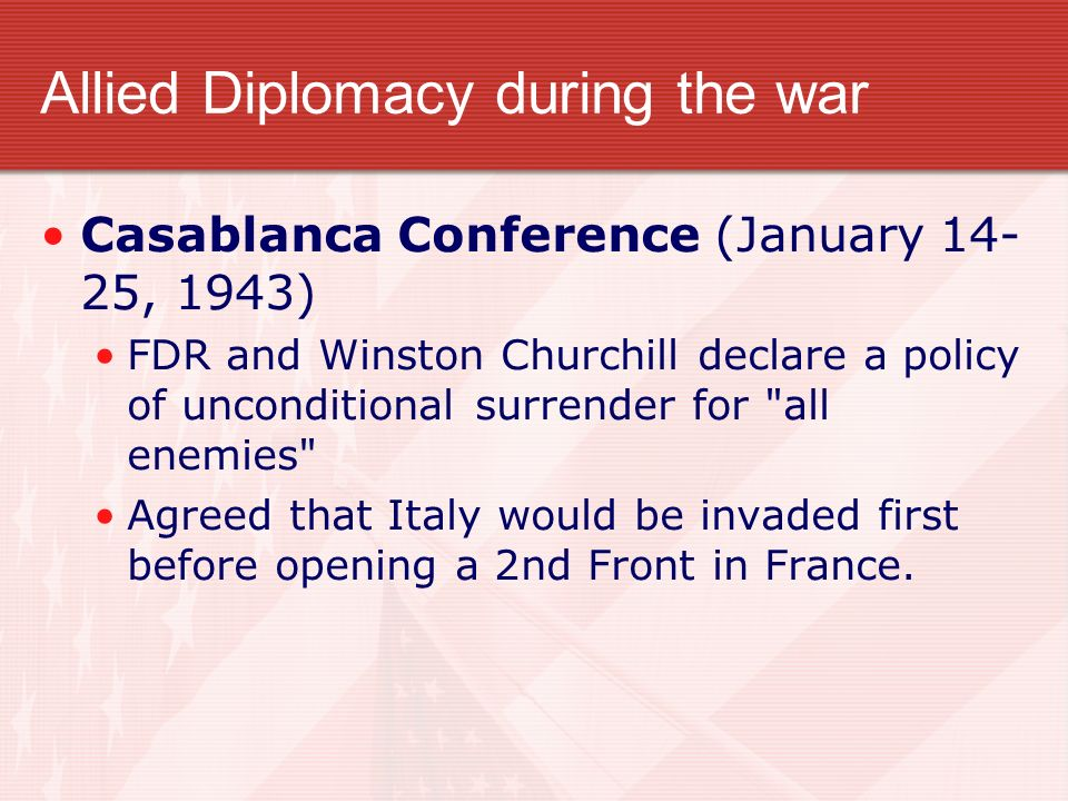 Allied Diplomacy during the war