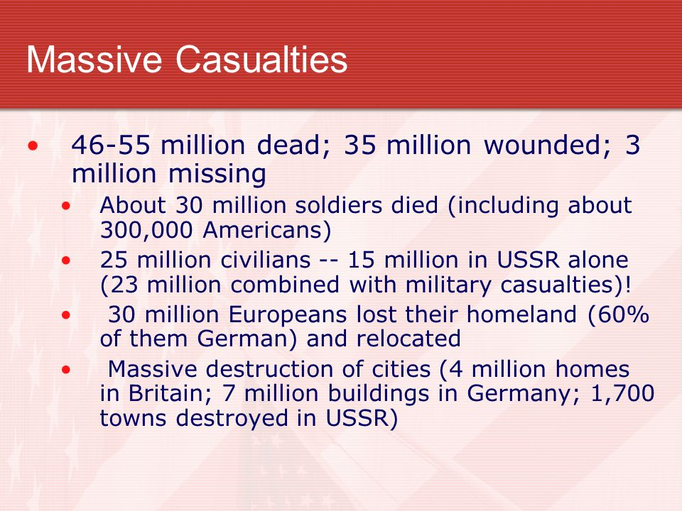 Massive Casualties 46-55 million dead; 35 million wounded; 3 million missing. About 30 million soldiers died (including about 300,000 Americans)