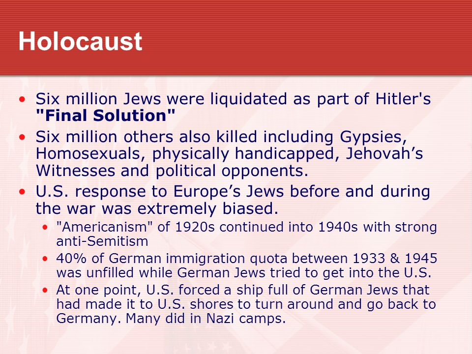 Holocaust Six million Jews were liquidated as part of Hitler s Final Solution