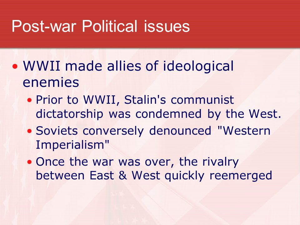 Post-war Political issues