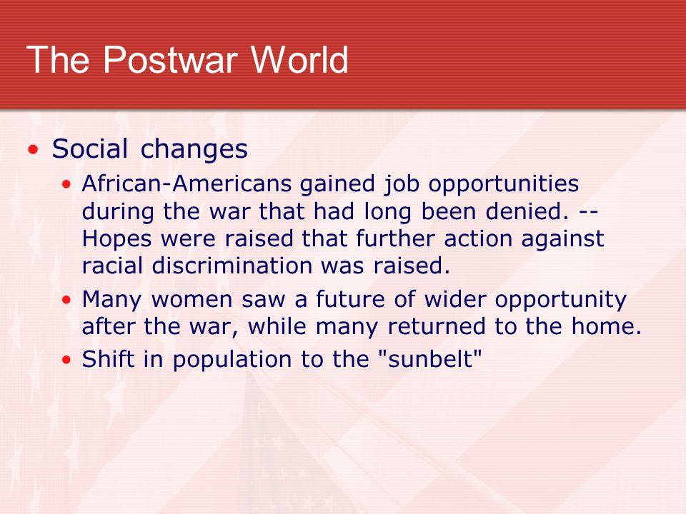 The Postwar World Social changes