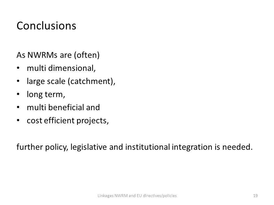 Linkages NWRM and EU directives/policies