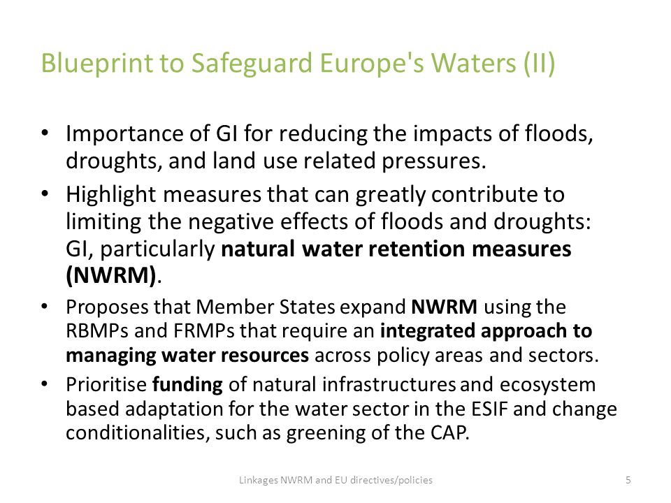 Blueprint to Safeguard Europe s Waters (II)