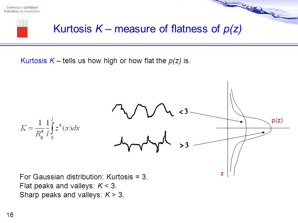 Kurtosis K – measure of flatness of p(z)